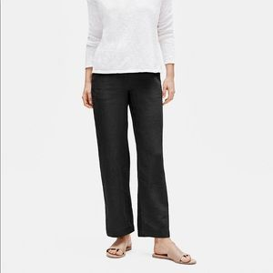 Eileen Fisher Organic Linen Straighht Pants Black